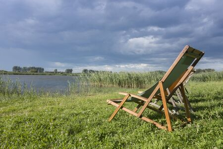 linum: Loungers on a lake, Brandenburg, Linum