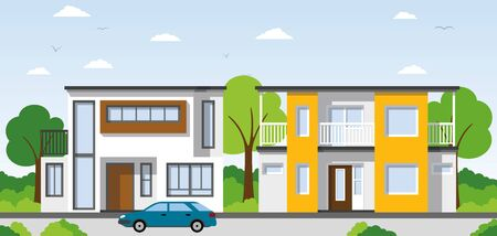 suburban street: Two modern townhouses in the suburbs Illustration