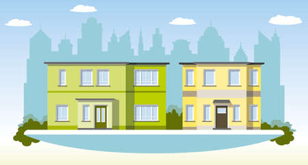 townhouses: Two modern townhouses in the suburbs Illustration