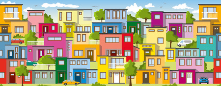ie: Modern colorful houses, ie usable as a continuous background Illustration