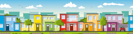 case colorate: Modern colorful houses, ie usable as a continuous background Vettoriali