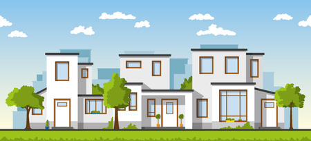 suburb: Three modern houses in a suburb white Illustration
