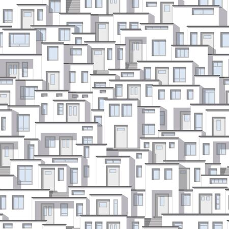 continuously: Continuous background from modern white houses Illustration