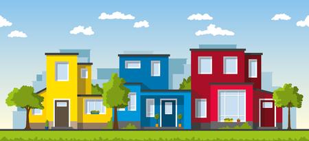case colorate: Tre moderne case colorate in un sobborgo