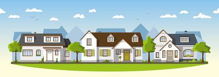 suburbs: Three classical country houses in the suburbs Illustration