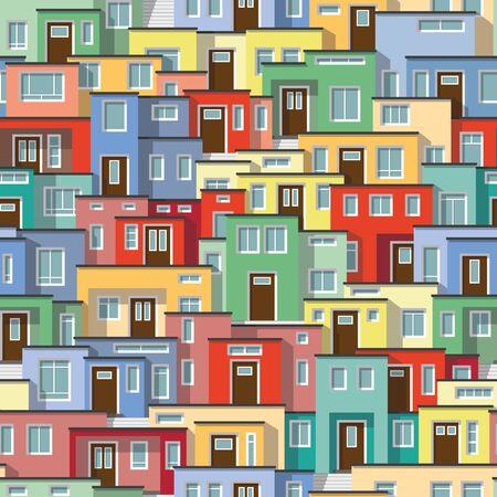 case colorate: Sfondo continuo di moderne case colorate