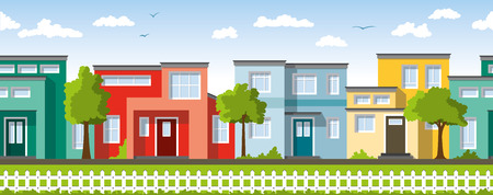 Modern colorful houses, ie usable as a continuous background 일러스트