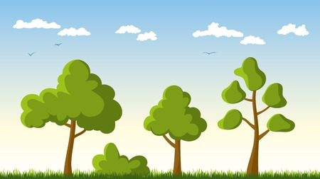 Three trees in a meadow