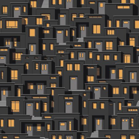 continuously: Continuous background of modern houses at night