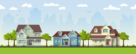 suburbs: Three classical country house in the suburbs Illustration