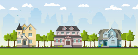 urbane: Three classical country house in the suburbs Illustration