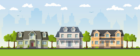 country house: Three classical country house in the suburbs Illustration