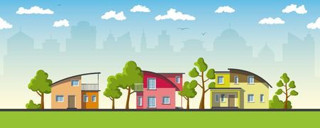 buzzer: Three modern houses with barrel roof Illustration