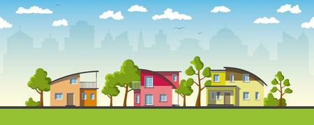 case colorate: Tre case moderne con tetto a botte