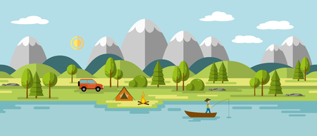 Camping in the mountains, so usable as a continuous panorama Vectores