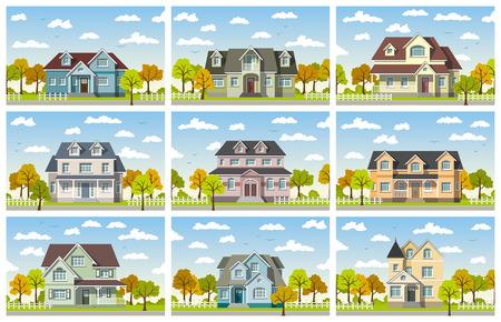 Neun klassischen Landhaus im Herbst Standard-Bild - 46510310