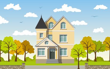 urbane: Classic Cottage in the autumn landscape