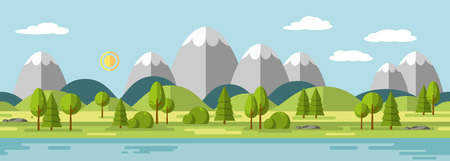 Landscape with mountains, ie usable as a continuous panorama