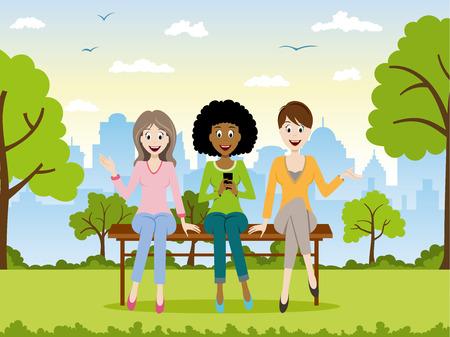 persona sentada: Tres muchachas que se sientan en un banco