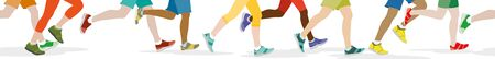 lllustration: People jogging, can therefore be used as a continuous panoramic Illustration