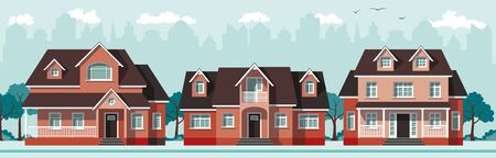 houses: Three red classic country houses Illustration
