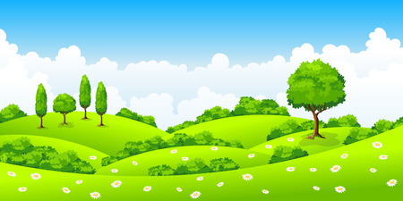 Summer landscape with trees and flowers Illustration