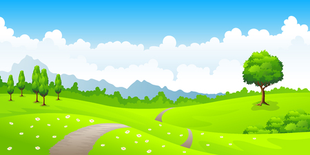 Summer landscape with meadow flowers and mountains Illustration