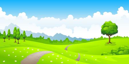 Zomer landschap met weide bloemen en bergen