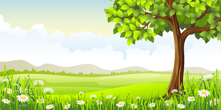 buzzer: Summer panorama landscape with tree and flowers