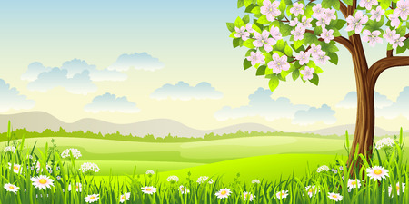 Spring panorama landscape with flowering tree and flowers Vectores