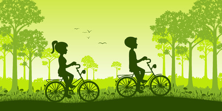 humane: Two people ride a bike through the countryside