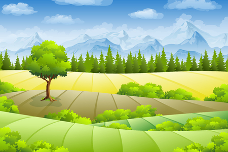 hedge trees: Summer landscape with fields, trees and mountains