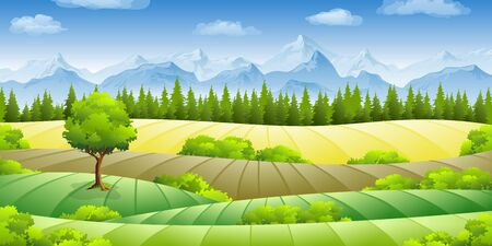 buzzer: Summer landscape with fields, trees and mountains