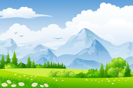 paisaje de verano con prados y montañas Ilustración de vector