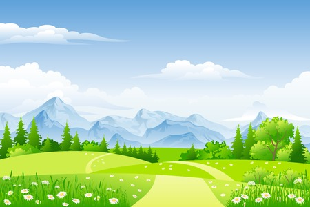 clouds sky: Summer landscape with meadows and mountains