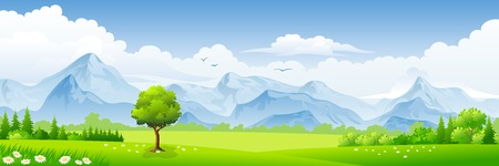 nature vector: Summer landscape with meadows and mountains