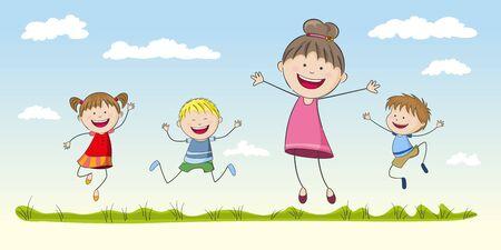 humane: Four jumping Children