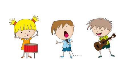 making music: Three kids making music