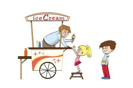 stools: Little girl is looking forward to an ice cream Illustration