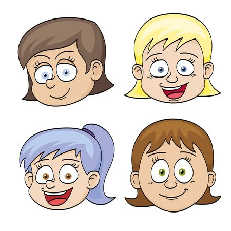 insulted: Illustration of funny faces of girls Illustration