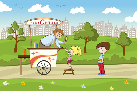 humane: Little girl is looking forward to an ice cream Illustration