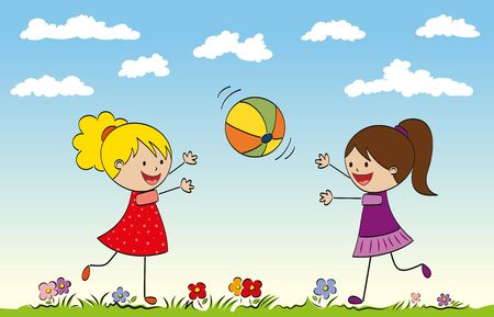 two girls: Two girls playing with a ball