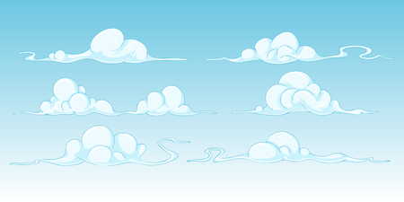 clouds blue sky: set of cartoon clouds