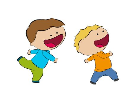 humane: Two running boys, hand draw sketch Illustration