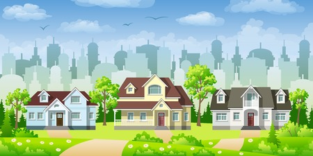 urbane: Cityscape with three classic houses Illustration