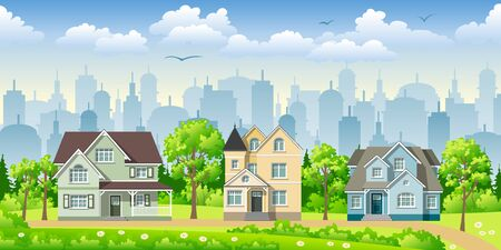 buzzer: Cityscape with three classic houses Illustration