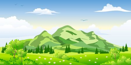 buzzer: Summer landscape with trees Illustration