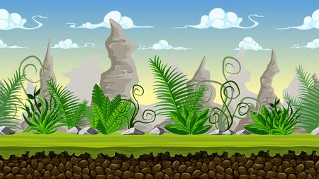 montañas caricatura: la naturaleza de fondo inconsútil de la historieta, ilustración del vector con capas separadas Vectores