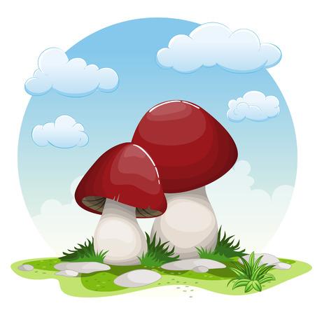 Illustration of cartoon mushrooms Ilustração