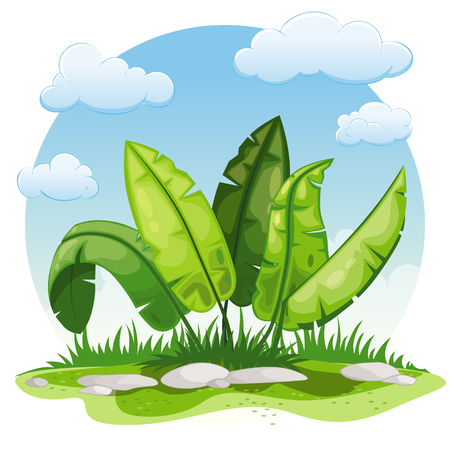 buzzer: Illustration of cartoon plants